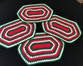 Set of 4 Vintage Hand Crochet Red, White and Green Christmas Placemats