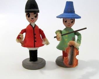 Vintage German Wooden People / Wooden Violin Player and Equestrian / Hand painted Erzgebirge? Miniature