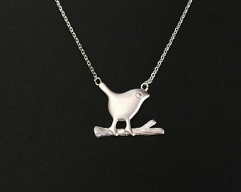 Delicate Sterling Silver Bird Necklace. Sterling Silver Bird Pendant. Cute Silver Bird Necklace. Everyday Necklace. Adjustable Necklace.