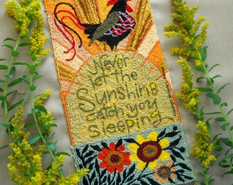Rooster Rising Morning Sunshine Folk Prim Floral Sun Punch Needle Embroidery DIGITAL Jpeg and PDF PATTERN Michelle Palmer Painting w/Threads