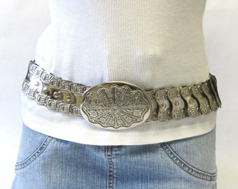 Silver Metal Stretch Belt Fancy Paneled Elastic Fishscale Western