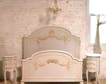 Painted Cottage Shabby Romantic Princess Rose Floral Twin / Double /Full Bed / Queen Bed BD805