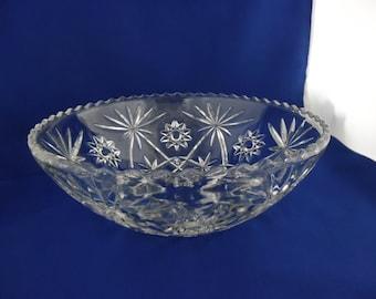 Large Serving Bowl - Large Salad Bowl, Anchor Hocking Star of David, Clear Pressed Glass, Vintage 1960's.