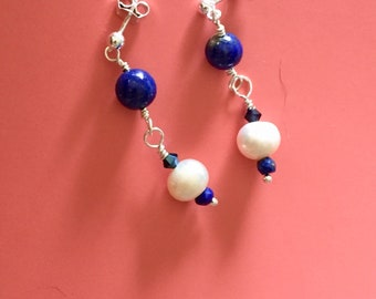 Makapuu Lapis White Pearl Earrings