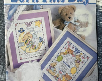 """Leisure Arts """"""""Born this Day"""""""" Cross Stitch Leaflet #3045 Designed by Joan Elliot"""