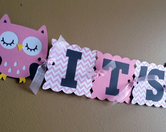 Pink Chevron Owl Baby Shower Banner - Baby Shower Decorations - Owl Party - Its a Girl