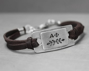 Alpha Phi Leather Bracelet, Sorority Jewelry, Alpha Phi Bracelet, Pewter Bracelet, Sorority Bracelet, Hand Stamped Bracelet,