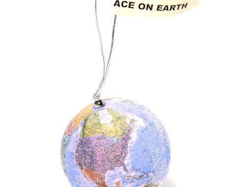 Peace on Earth Glittered Globe Ornament