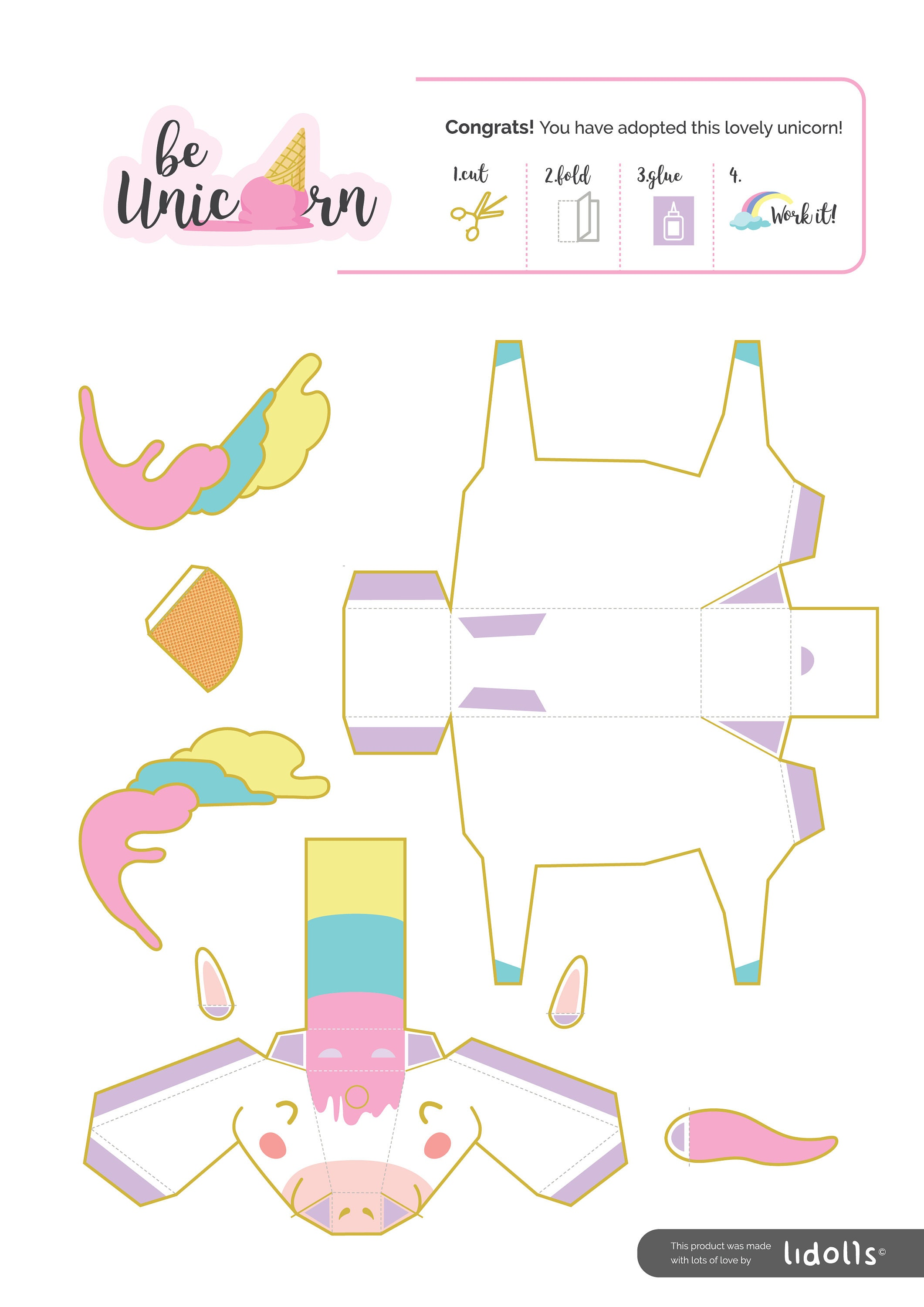 Diy unicorn papercraft printable download diy party decorations this is a digital file jeuxipadfo Gallery