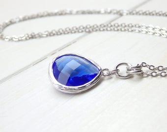 Sapphire Blue - Tear Drop - Crystal Glass Silver Long Necklace