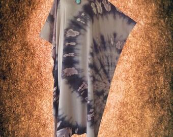 Abstract Bleach Tie dye Wearable Art Casual Kaftan Dress