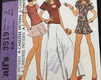 Vintage McCalls seeing pattern Misses Top Skirt and pants Flares 1973