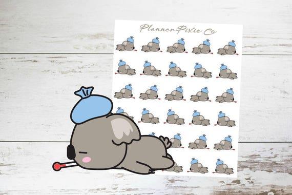 Koala planner stickers sick flu headache 020