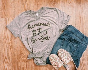 Handmade by God + coffee cups tshirt