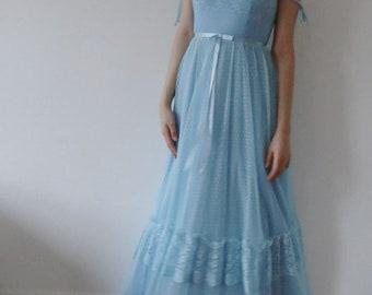 70s Dress / Boho Dress / Vintage Pronuptia Paris Designer Dress / 1970s Maxi Peasant Dress / Lace Summer Dress / Bridesmaids Dress /Long Gow