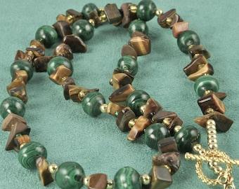Monsoon - Malachite and Tiger Eye Necklace