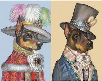 Doberman Romance - 2 Art Prints - Lady & Dandy - Doberman Pinscher Art - Funny Pet Portraits by Maria Pishvanova