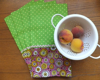 Green and Yellow Polka Dot Dish Towel Set of 2 with Pink Flowers