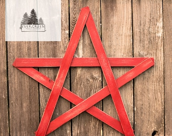 Large Wooden Rustic Home Star- Red
