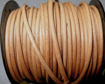 Natural Brown 3 mm Leather Cord, 1 yard Or More