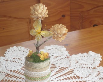 Fake Faux Flower Arrangement - Upcycled Recycled Floral Arrangement -  Rustic Home Decor Nature Crafts - Pistachio Nut Shell Flowers