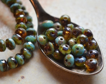 30 Czech Picasso Faceted Rondelle Beads 5x3mm- Turquoise & Amber (587-30)