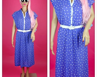 Vintage 1980s Purple and White Summer Button Up Elastic Waist Dress