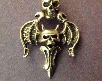 Skull demon sterling 925 silver pendant