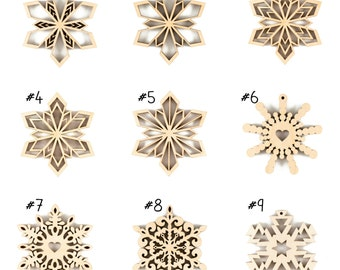 Make your own set, Set of Wooden Snowflakes, Christmas ornaments, Wood Christmas decorations, Laser Cut Snowflake, Wooden snowflake ornament