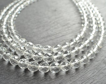 Anna Marie - Clear Bridesmaid Necklace Statement Necklace  Chunky Necklace Glass Necklace