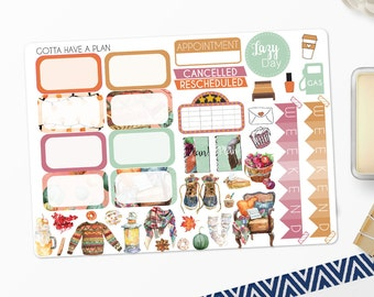 Planner Stickers Sweater Weather Half Box and Deco for Erin Condren, Happy Planner, Filofax, Scrapbooking
