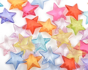 200 Acrylic STAR Drop Charms mixed colors 18mm cha0025