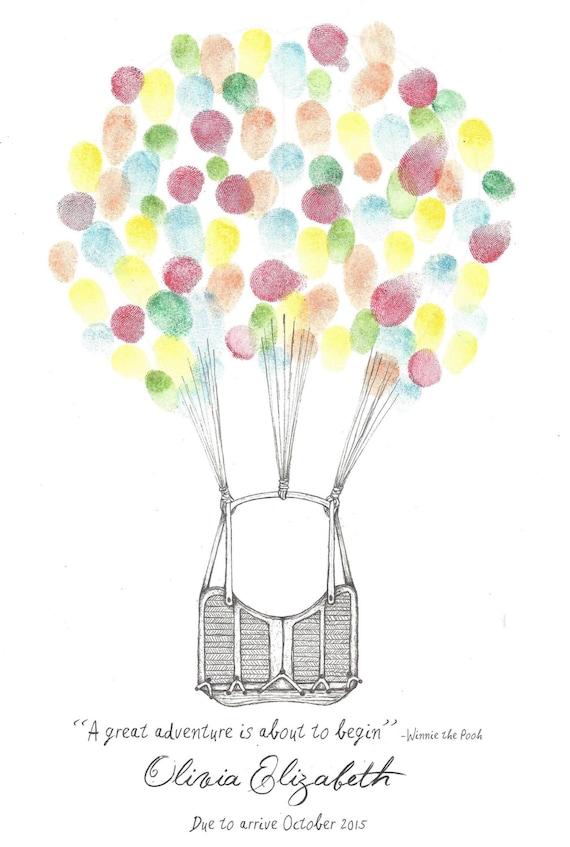 hot air balloon finger print guest book wedding shower