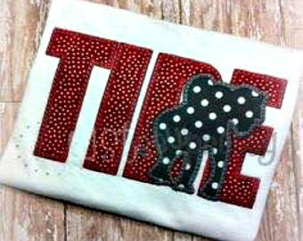 Tide Elephant Embroidery Applique Design