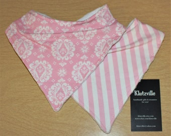 Pink Damask & Stripe Prints Bandanna Bibs Set of 2