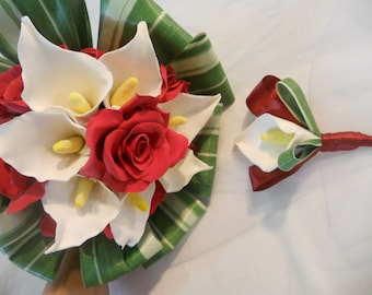 Bridal arums white and red roses bouquet + offered buttonhole