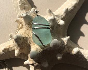Bright Blue Sea Glass Necklace