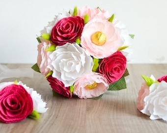 Wedding Bouquet/ Bridal Bouquet/ Bridesmaid Bouquet/ Paper Flower Bouquet/ Alternative Bouquet/ Paper Flowers/ Pink White Bouquet