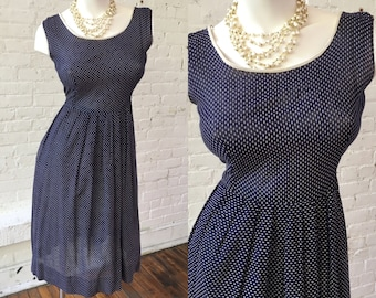 Navy Blue Polka Dot Vintage Dress with White Piping