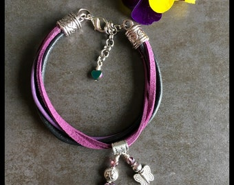 Purple leather bracelet with charms, bracelet for women, boho, gift for her, birthday present, stackable,