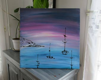 Pink Blue abstract painting, Modern Art, abstract painting
