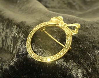 Sterling Silver Marcasite Pin Circle Bow Vintage Natural Gemstone 925 Jewelry Brooch Lapel Jacket Scarf