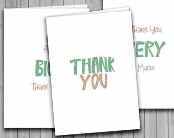Thank You card, set of 6, stylish thank you card set