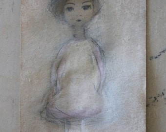 Small Pastel Painting of a Girl -- Little girl -- Original Pastel and Watercolor Drawing on delicate paper -- Small format original fine art