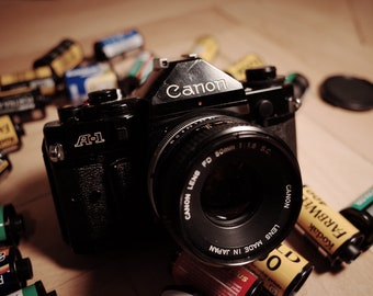 Legendary Canon A-1 Canon A1 Vintage Film SLR Camera in working, nice Condition with wide to tele zoom Working, Tested