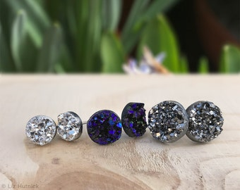 Faux Druzy Stud Titanium Earrings. 3 Pair Set Drusy Glitter Posts. Galaxy Collection. Dark Silver, Blue-Black, Bright Silver Metallic