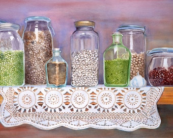 Sandy's Pantry with crocheted doily and jars of dried beans