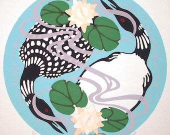 Circle of Life - Pair of Loons form Yin-Yang in this serigraph