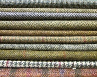 Tweed Fabric Patchwork Patches 10 Squares 23 cm x 23 cm 100% Pure Wool
