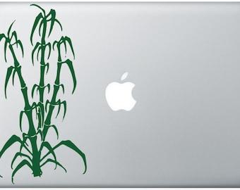 Bamboo apple moon laptop DECAL- macbook iPad computer - vinyl sticker